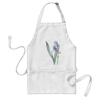 L'iris bleu botanique vintage fleurit le tablier