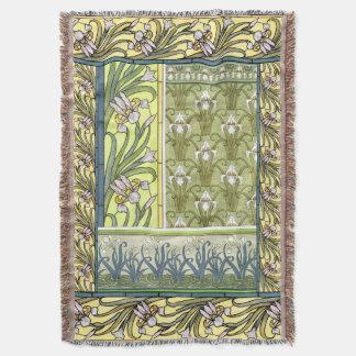 L'iris de Nouveau d'art fleurit le jet floral de Couverture
