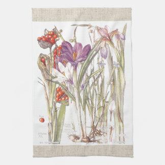 L'iris vintage de crocus fleurit des serviettes de serviettes éponge