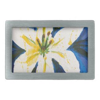 Lis blanc sur la collection bleue par Jane Boucles De Ceinture Rectangulaires
