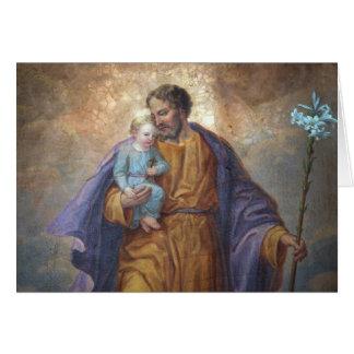 Lis croisé de Jésus de bébé de St Joseph de fête Carte De Vœux