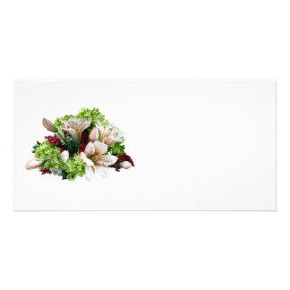 Lis, hortensia et baies asiatiques cartes avec photo