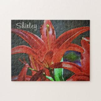 Lis-Texturisé rouge par Shirley Taylor Puzzle