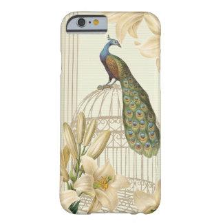 Lis vintage sophistiqué de cage à oiseaux de paon coque iPhone 6 barely there