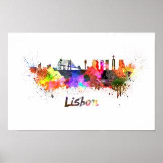 Lisbonne skyline in watercolor poster