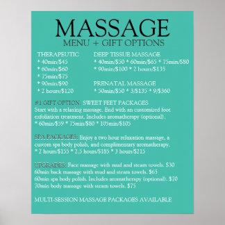 Liste BLEUE de menu de service de massage Posters