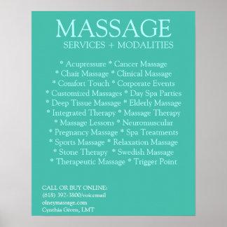 Liste BLEUE de modalités de massage Posters