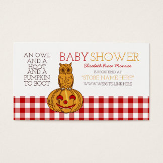 Liste de cadeaux de baby shower de hibou et de cartes de visite