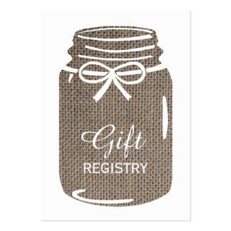 Liste de cadeaux de mariage de pot de maçon de carte de visite grand format