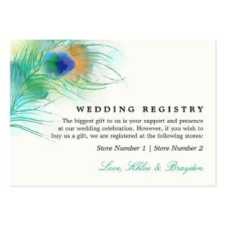Liste de cadeaux de mariage du paon | d'aquarelle carte de visite grand format