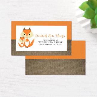 Liste de cadeaux orange de baby shower de toile de cartes de visite
