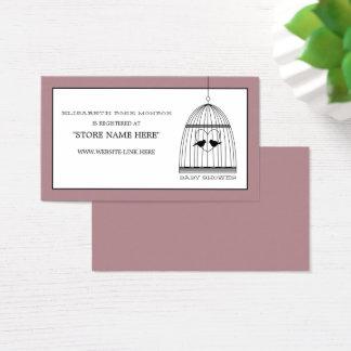 Liste de cadeaux vintage de baby shower de cage à cartes de visite