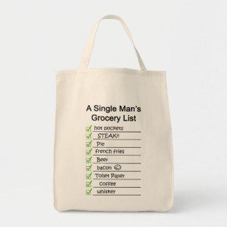Liste de l'épicerie d'un homme simple sacs