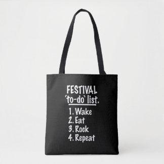 Liste de remue-ménage de ` de festival' (blanche) tote bag