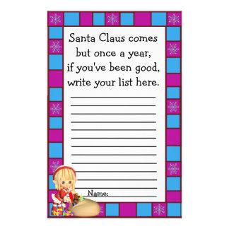 Liste de souhaits de Noël du père noël pour des Prospectus 14 Cm X 21,6 Cm