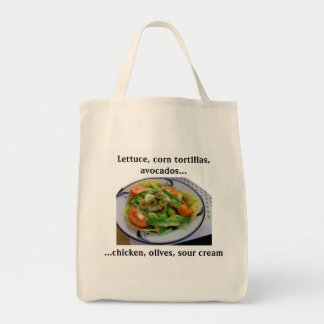 Liste d'épicerie de salade de Tostada Sac