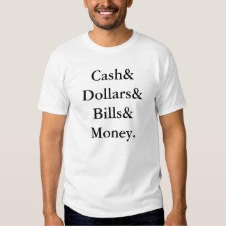 Liste helvetica d'argent liquide t-shirts