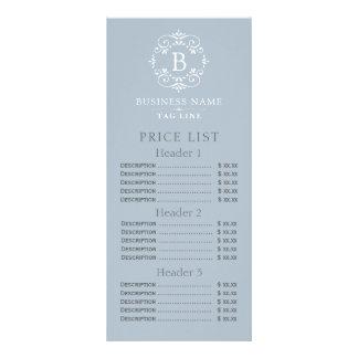 Listes des prix élégantes de monogramme de bleu carte double en  couleur