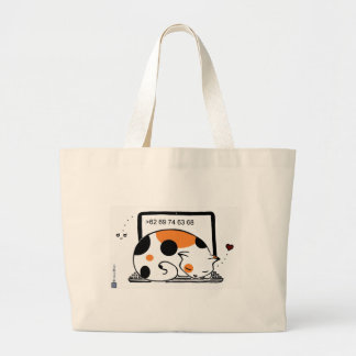 Lit de chat d'ordinateur portable (calicot) sac en toile jumbo