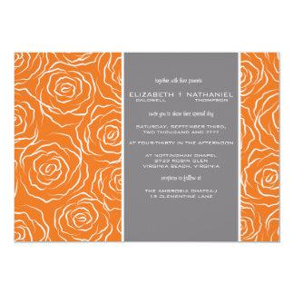 Lit de faire-part de mariage de roses - orange de carton d'invitation  12,7 cm x 17,78 cm