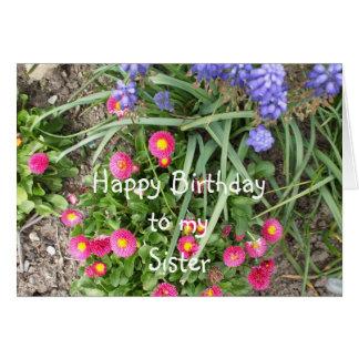 Lit de fleur d'anniversaire de soeur carte de vœux