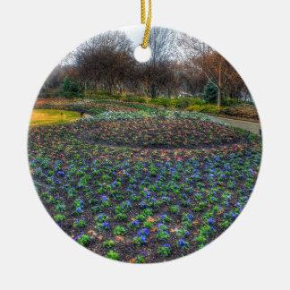 Lit de fleur d'arborétum de Dallas et de jardins Ornement Rond En Céramique