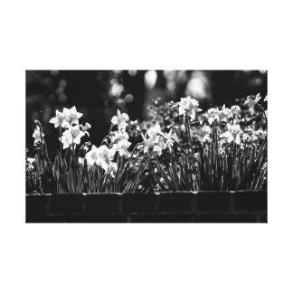 Lit noir et blanc d'art de mur de toile de