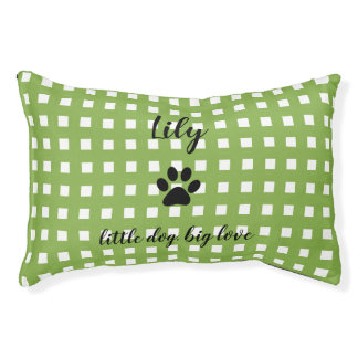 LIT POUR ANIMAUX ANIMAL FAMILIER BED_PAW CHIC PRINT/GREEN ET BLANC