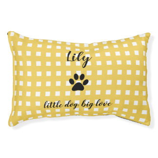 LIT POUR ANIMAUX ANIMAL FAMILIER BED_PAW CHIC PRINT/YELLOW ET BLANC