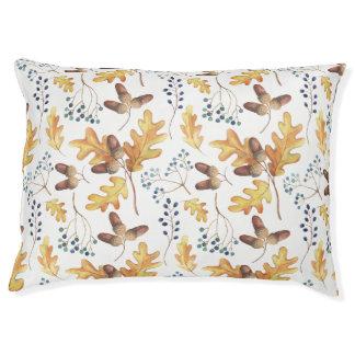 Lit Pour Animaux Feuille de chêne d'automne d'aquarelle, glands,