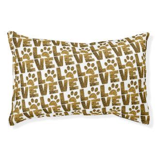 Lit Pour Animaux L'amour de chien de parties scintillantes d'or
