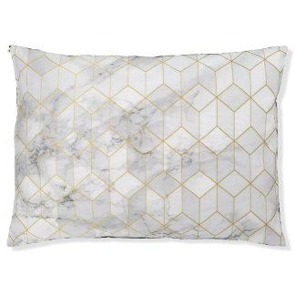 Lit Pour Animaux Marbre blanc avec le motif de cube en or