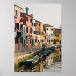 L'Italie, Burano. Maisons colorées de la ligne a Posters