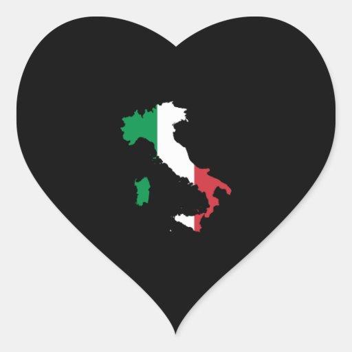 L'Italie dans des couleurs de drapeau Autocollant En Cœur