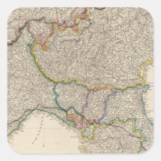 L'Italie du nord avec la Sardaigne Autocollants Carrés