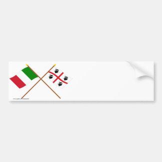 L'Italie et les drapeaux croisés par Sardegna Autocollant De Voiture