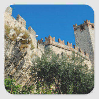L'Italie, Malcesine, policier de lac, château Sticker Carré