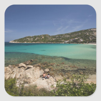L'Italie, Sardaigne, Baja Sardaigne. Plage de Sticker Carré