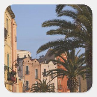 L'Italie, Sardaigne, Cagliari. Bâtiments et paumes Autocollant Carré