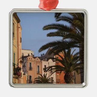 L'Italie, Sardaigne, Cagliari. Bâtiments et paumes Ornement Carré Argenté