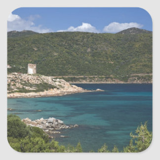 L'Italie, Sardaigne, Teulada. Tour espagnole Stickers Carrés
