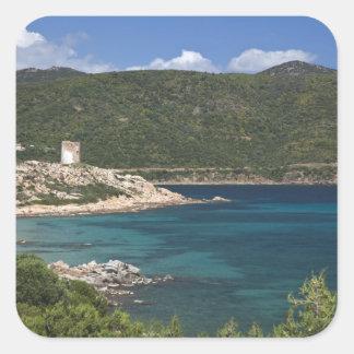 L'Italie, Sardaigne, Teulada. Tour espagnole Sticker Carré