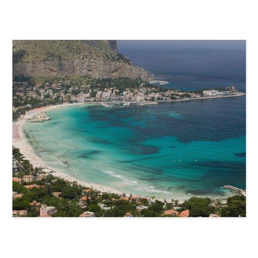 L'Italie, Sicile, Mondello, vue de la plage de Carte Postale