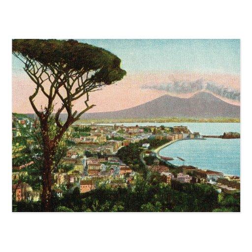 L'Italie vintage, baie de Naples et de Vésuve Carte Postale