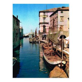 L'Italie vintage, Chioggia, canal de Vana Carte Postale