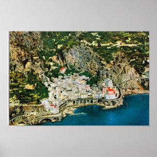 L'Italie vintage, les falaises rocheuses sur Amalf Affiches