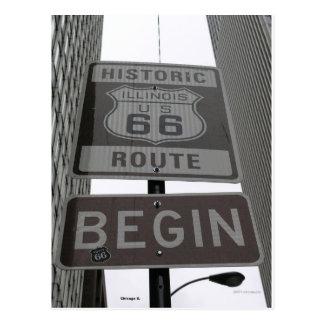 L'itinéraire officiel 66 commencent le signe cartes postales
