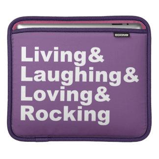Living&Laughing&Loving&ROCKING (blanc) Housse iPad