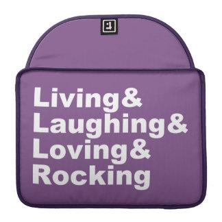 Living&Laughing&Loving&ROCKING (blanc) Housse Pour Macbook