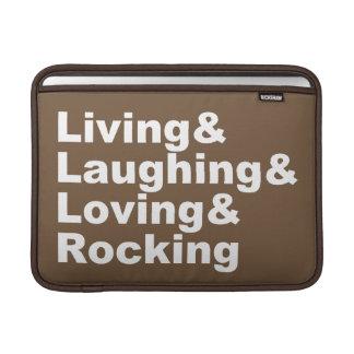 Living&Laughing&Loving&ROCKING (blanc) Housse Pour Macbook Air